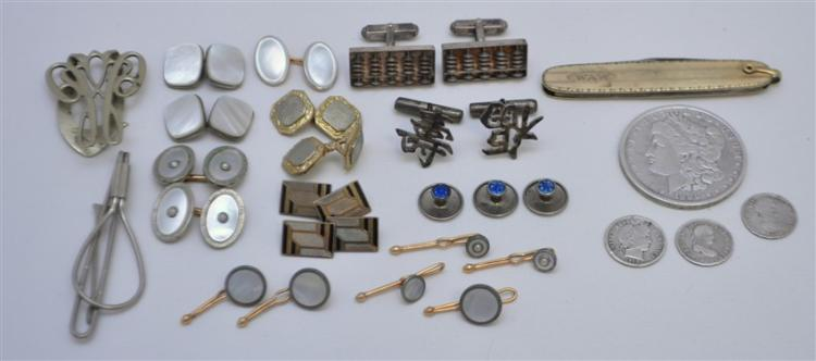 21 pc 1888 SILVER DOLLAR - KREMENTZ STUDS - FRENCH CUFFLINKS