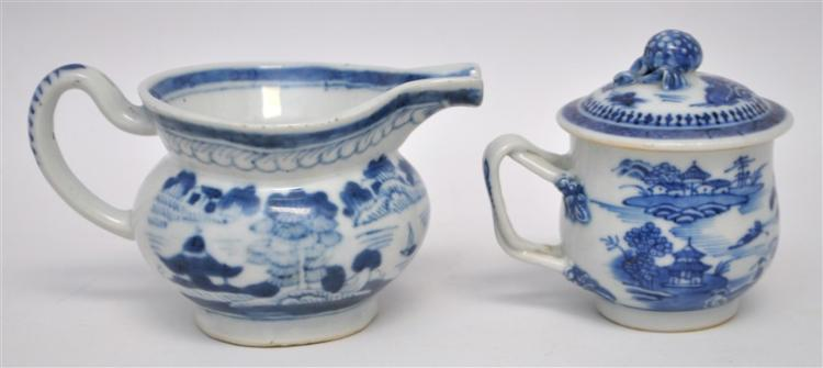 2 PC 19TH C. CHINESE EXPORT CANTON POT DE CRÈME +