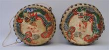 PAIR HAND PAINTED DRAGON PHOENIX DRUMS
