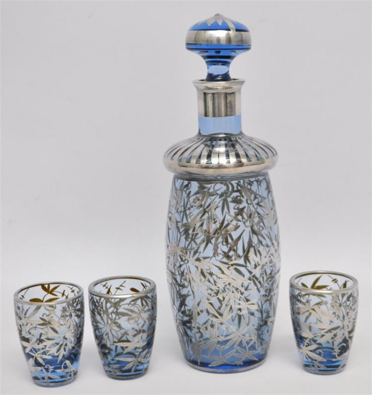 SILVER OVERLAY BLUE DECANTER W 3 GLASSES