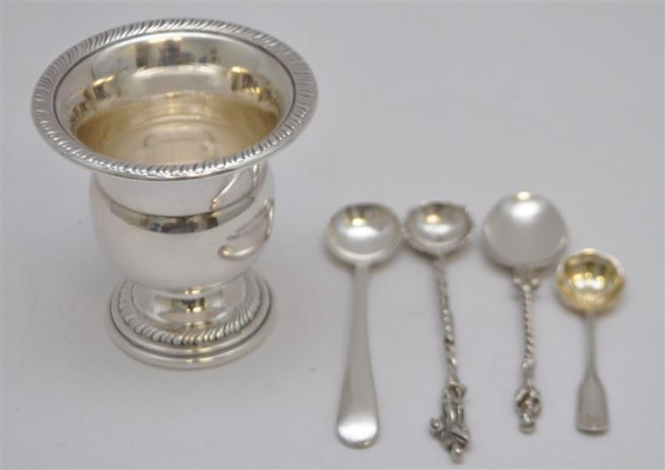 5 PC STERLING CIGARETTE TOOTHPICK URN + SPOONS