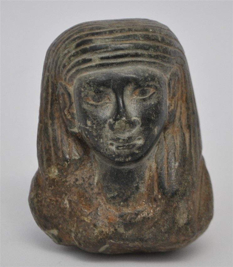 EGYPTIAN BLACK STEATITE USHABTI BUST