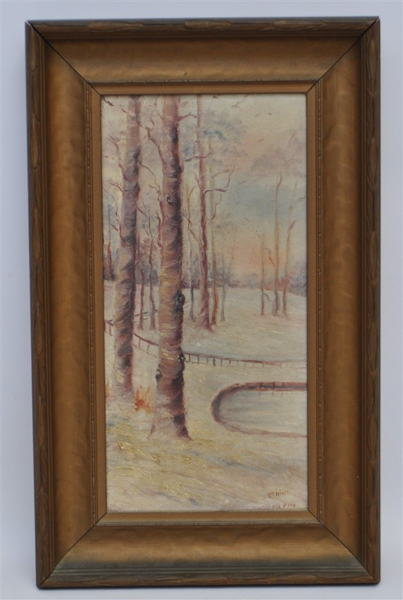 C.F. SENIOR C. 1900 OIL ON CANVAS PARK IN WINTER