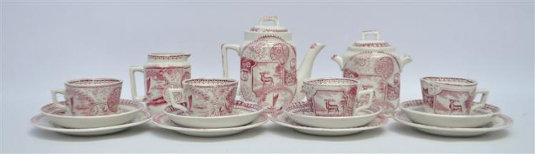 15 PC 19TH c. STAFFORDSHIRE STAG CHILDRENS TEA SET