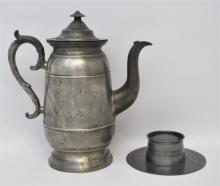 2 19TH C. PEWTER NEW ENGLAND COFFEE & INKWELL