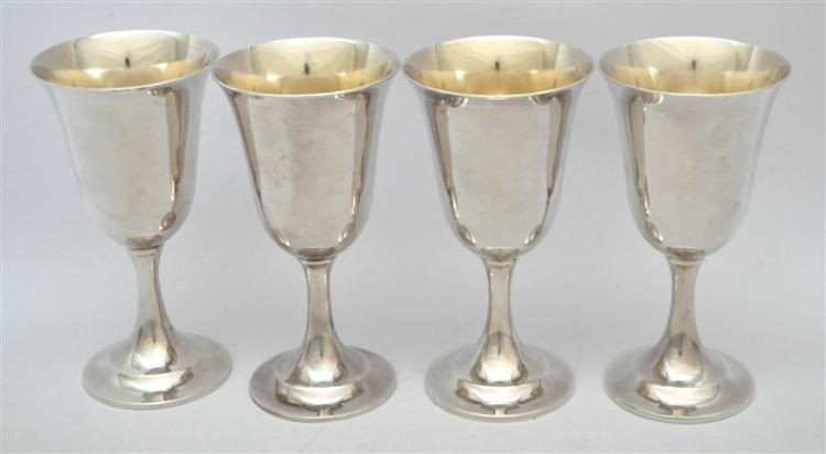 4 STERLING SILVER LORD SAYBROOK WATER GOBLETS