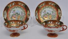 PAIR EXCEPTIONAL KUTANI GEISHA TEA CUPS