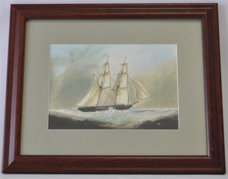 ORIGINAL DOUBLE MASTED SCHOONER GOUACHE