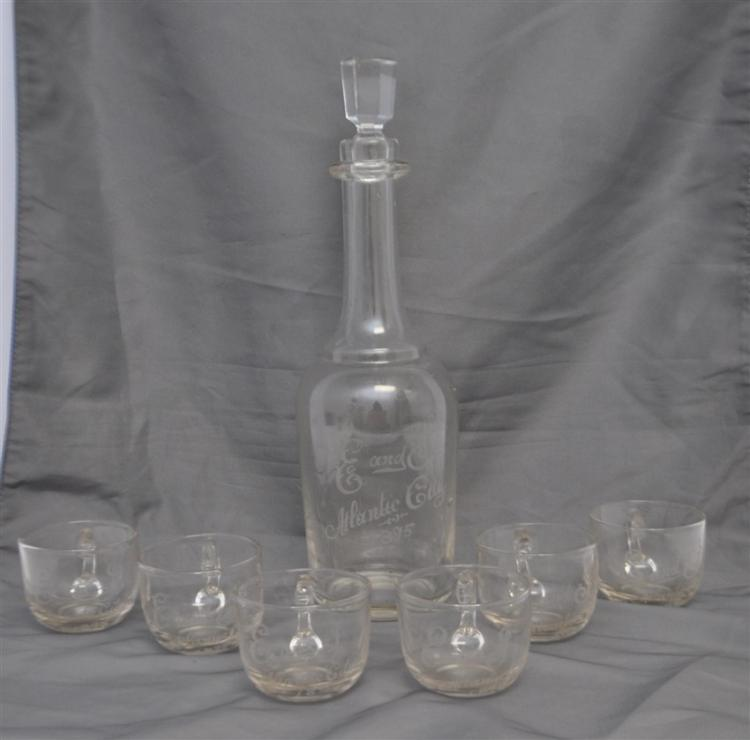 7 PC 1895 ATLANTIC CITY ETCHED GLASS LIQUOR SET
