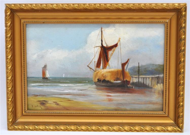 FISHING BOATS OIL ON BOARD - S WRAY