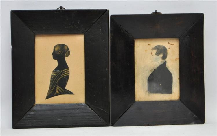 2 AMERICAN HAND PAINTED SILHOUETTE & PORTRAIT