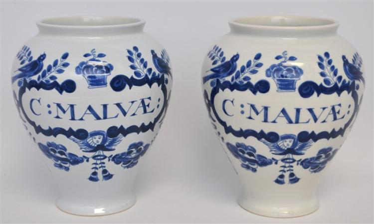 PAIR OF DELFT APOTHECARY JARS C: MALVAE