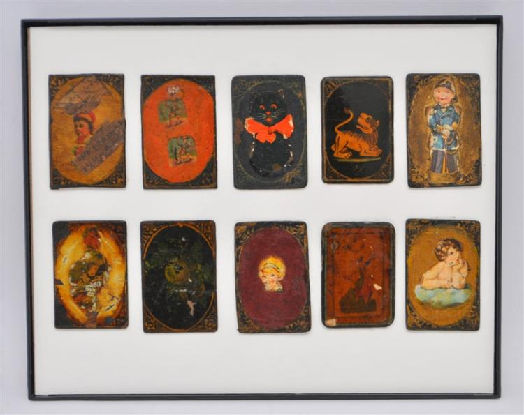 TEN 19th c. PERSIAN PLAYING CARDS AS-NAS
