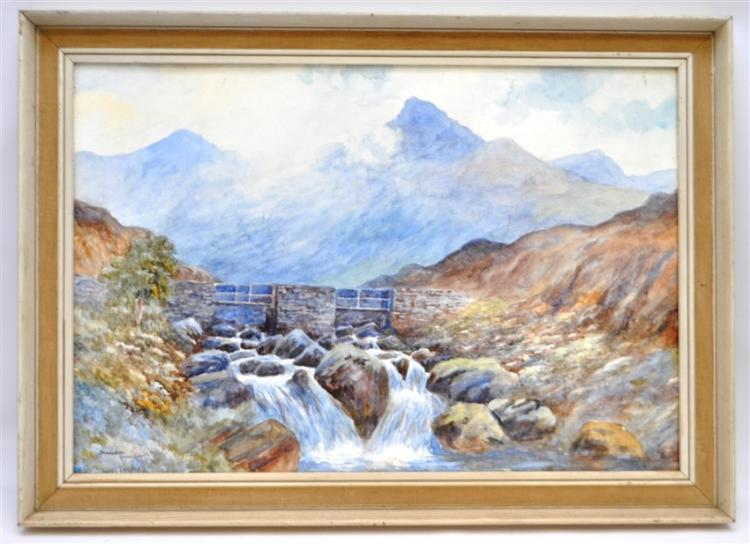 SNOWDON WALES WATERCOLOR O.H. THOMAS
