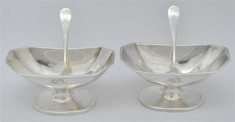 PAIR STERLING ART DECO FOOTED MINT / NUT BOWLS