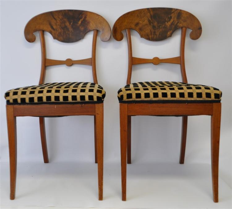 PAIR BIEDERMEIER MAHOGANY CHAIRS