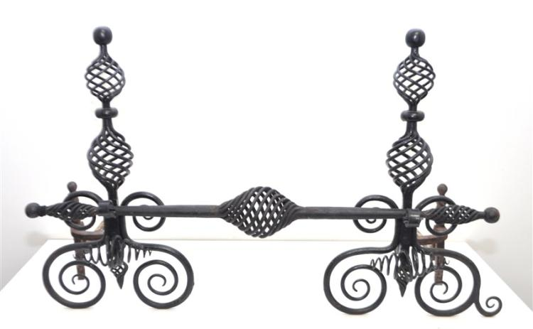 AMERICAN WROUGHT IRON ANDIRONS