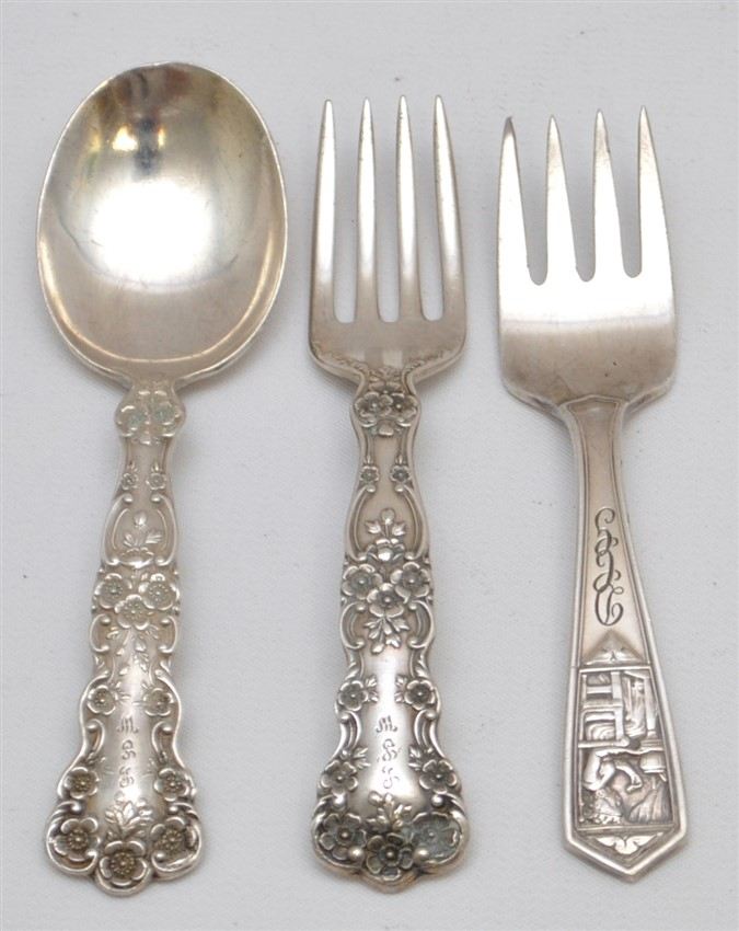 3 pc 19th c. STERLING TIFFANY & GORHAM BABY