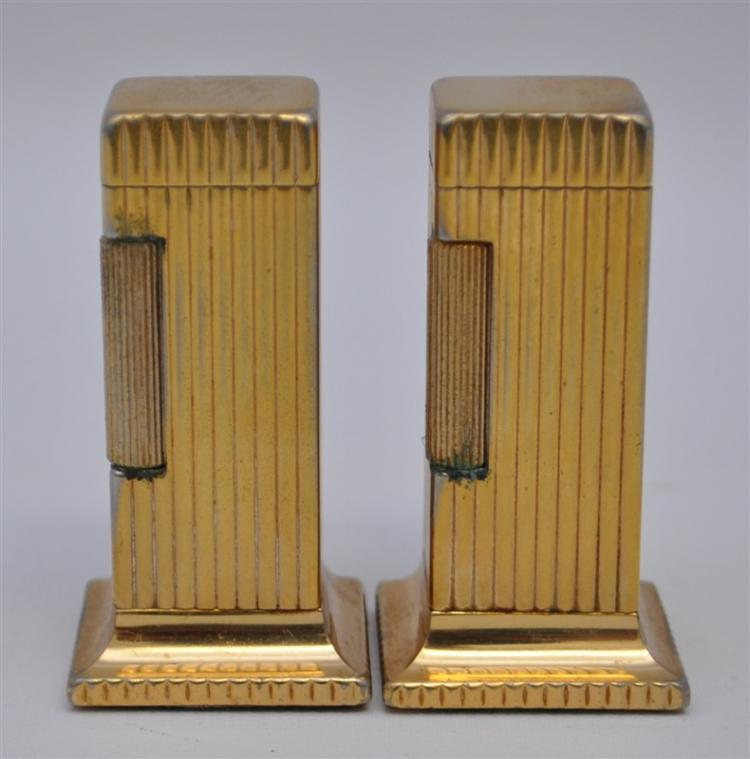 PAIR OF DUNHILL ROLLALITE GOLD PLATED TABLE LIGHTERS