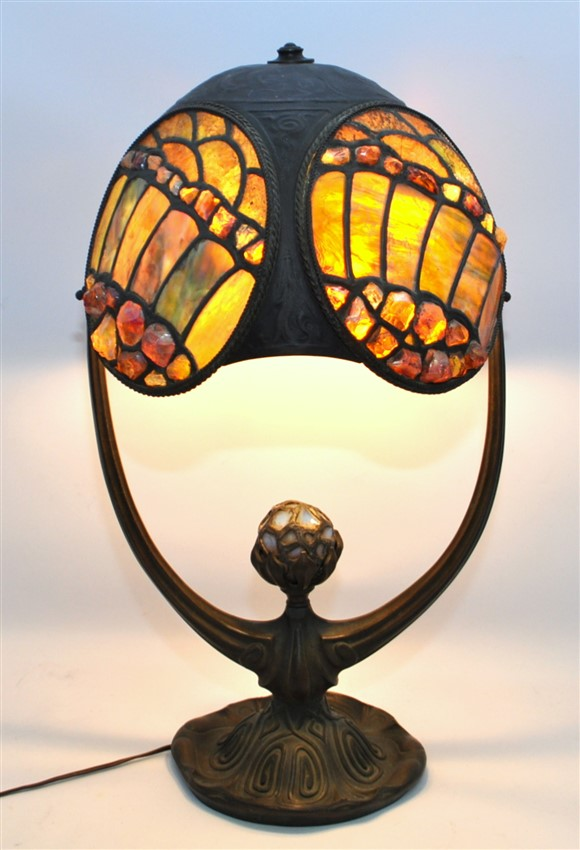 BRONZE AUSTRIAN JEWELED LAMP ART NOUVEAU