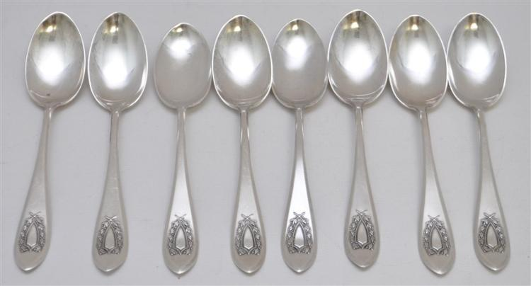 8 STERLING SILVER NAPOLEON c 1910 TEASPOONS