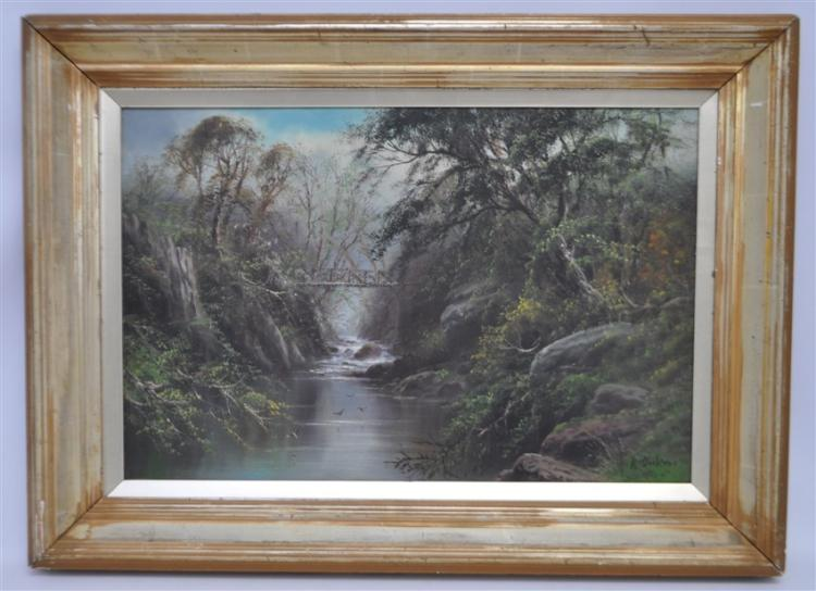 19th c. VICKERS RIVER WITH BRIDGE OIL ON CANVAS