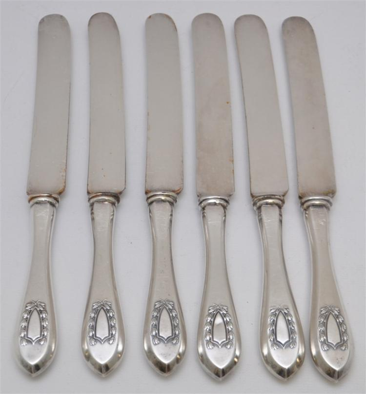 6 STERLING SILVER NAPOLEON c 1910 DINNER KNIVES