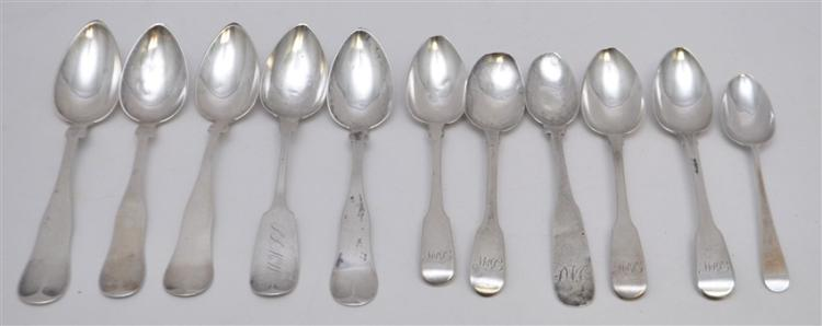 11 PC ENGLISH STERLING & AMERICAN COIN SILVER