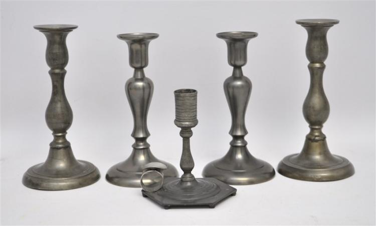 5 pc ENGLISH & DUTCH PEWTER CANDLESTICKS