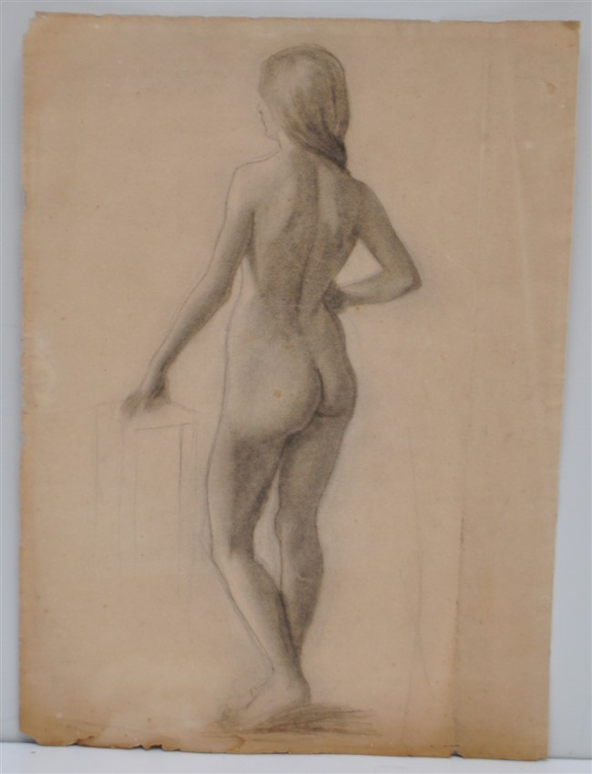 LARGE c 1920S CHARCOAL NUDE SKETCH