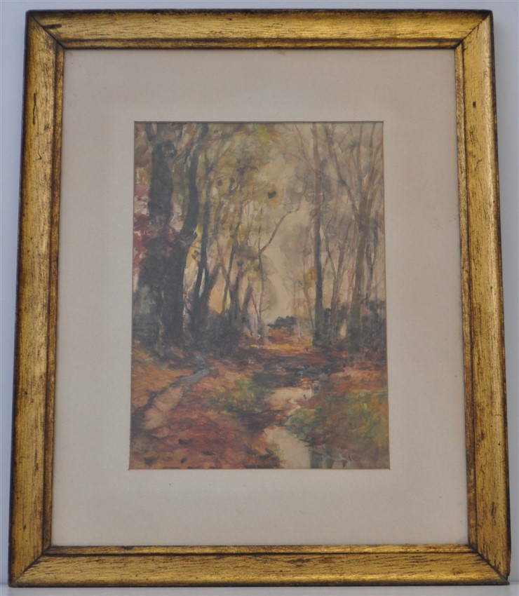 1940s WATERCOLOR MASSACHUSSETS WOODS