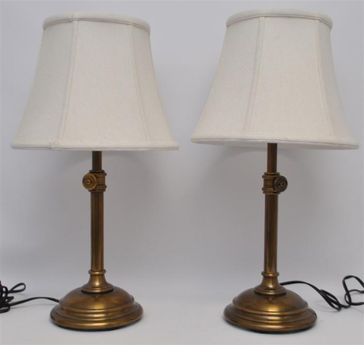 PAIR MATCHING BRASS CANDLESTICK LAMPS