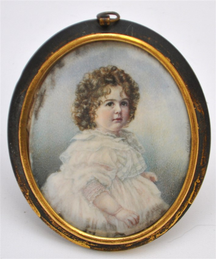 19TH C. PORTRAIT MINIATURE YOUNG CHILD