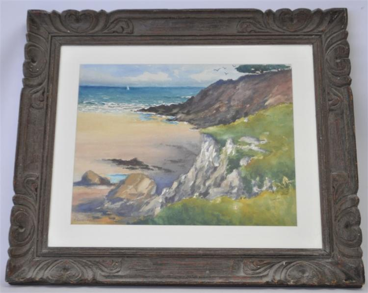 ALEX RAHAV ORIGINAL COASTAL WATERCOLOR