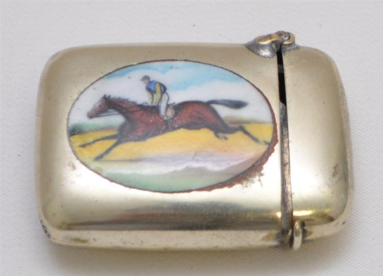 ANTIQUE ENAMEL RACE HORSE MATCH SAFE / VESTA