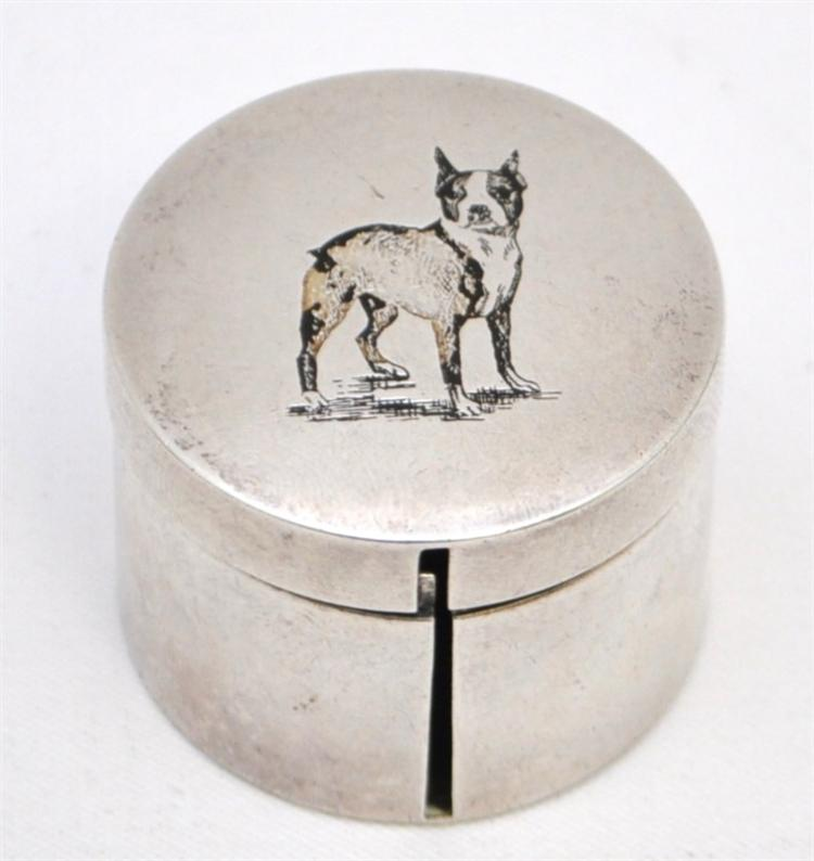 STERLING SILVER BULL TERRIER STAMP DISPENSER BOX