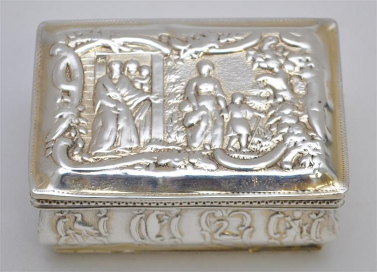 FINE c 1894 VICTORIAN SILVER TRINKET BOX