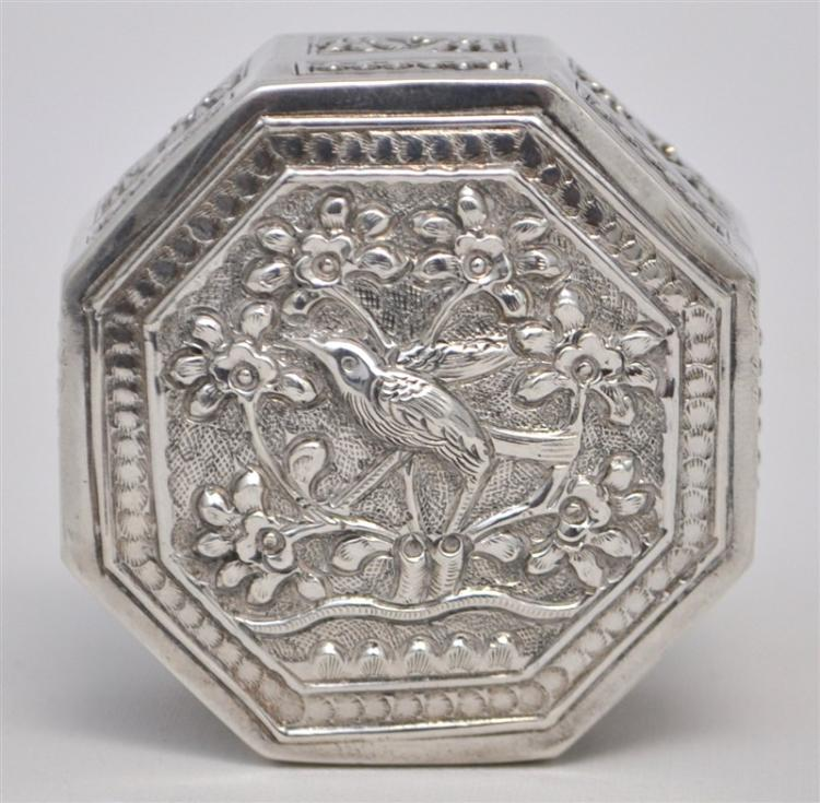 ORNATE STERLING SILVER BIRD SNUFF BOX