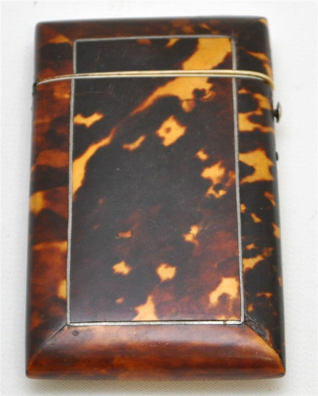 ENGLISH 19th c. TORTOISE SHELL CARD CASE