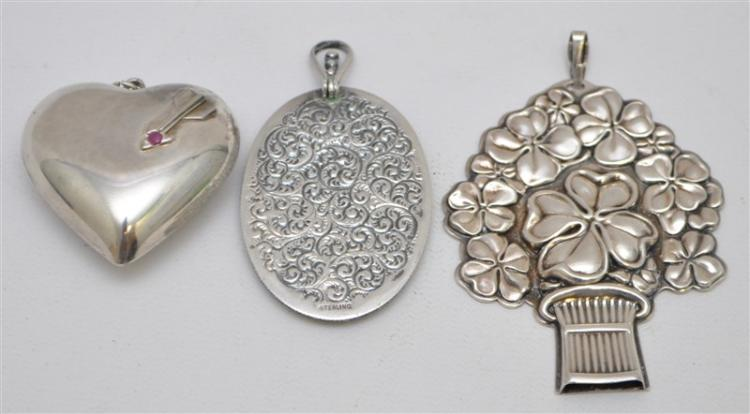 3 LARGE STERLING PENDANTS PUFFED HEART - MIRROR