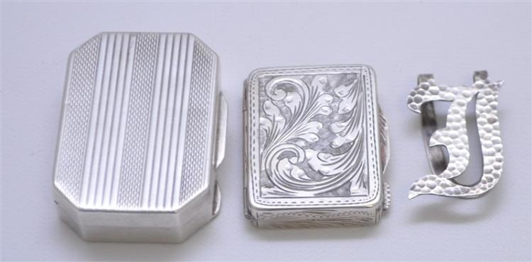 3 pc STERLING & 800 SILVER SNUFFS / MONEY CLIP