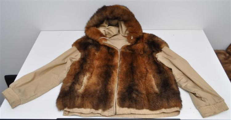 REVERSIBLE OPPOSUM FUR HOODED JACKET