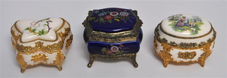 3 VINTAGE PORCELAIN MUSIC / JEWELRY BOX