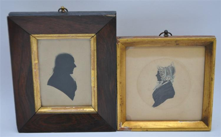 2 HAND PAINTED MINIATURE SILHOUETTES