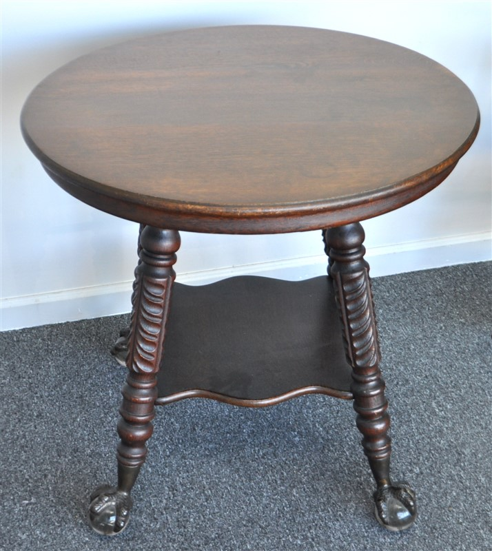 ANTIQUE OAK TABLE W GLASS BALL & CLAW FEET