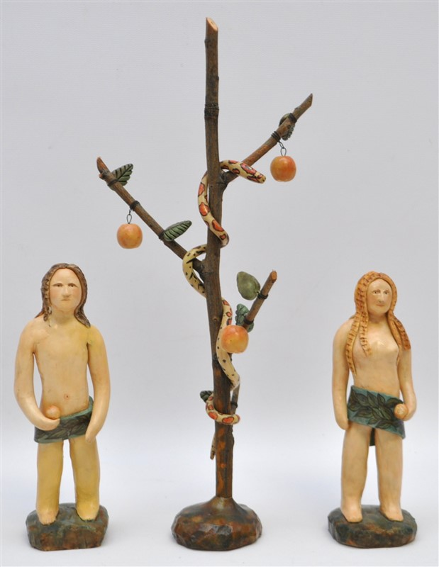 FOLK ART PAPER MACHE ADAM & EVE W SERPENT
