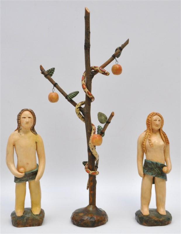 FOLK ART PAPER MACHE ADAM & EVE W SERPENT