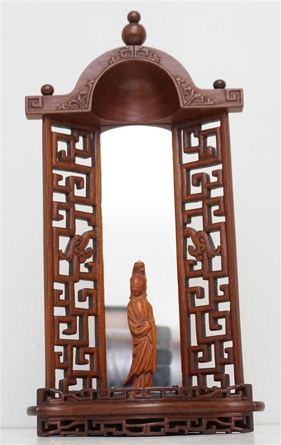 CHINESE CARVED HUANGHUALI IDOL NICHE