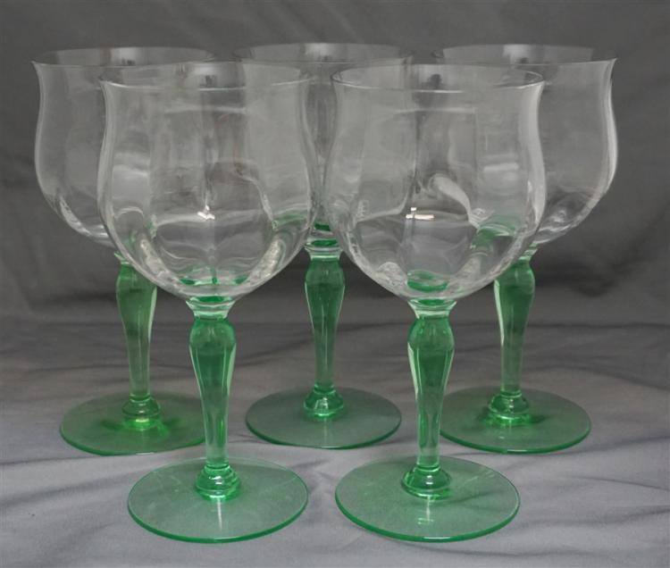 5 1930s VASELINE STEM WINE GLASSES