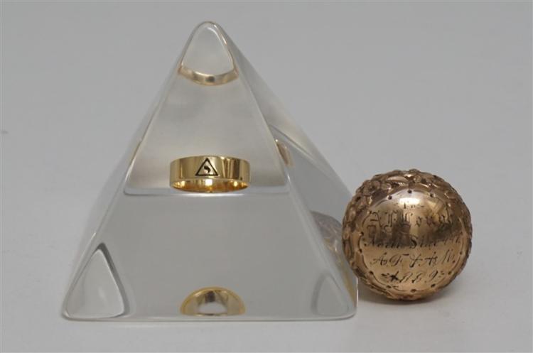 2 PC MASONIC 1889 GOLD CANE TOP & RING